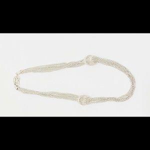 Vintage Sterling Silver Mesh Necklace